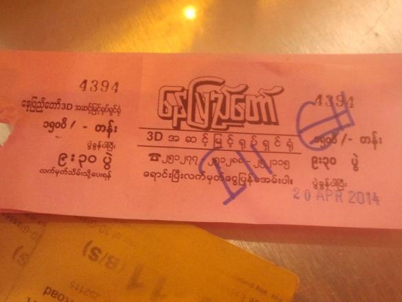 Bilet do kina w Rangunie.